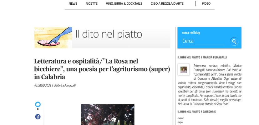 """Letteratura e ospitalità/""""La Rosa nel bicchiere"""", una poesia per l'agriturismo (super) in Calabria"""